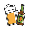 glass and bottle of beer vector image vector image