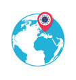 globe icon with location coronavirus pin pointer vector image vector image