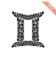 hand drawn black ornate horoscope symbol - gemini vector image