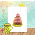 Happy Birthday postcard with cake and cup of tea vector image vector image