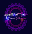 krishna janmashtami greeting card linear vector image vector image