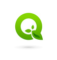 Letter Q eco leaves logo icon design template vector image vector image