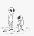 meeting of an alien and an astronaut vector image
