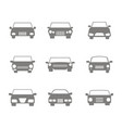monochrome icons set with cars vector image vector image