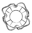 monochrome sketch of flotation hoop with cord vector image vector image