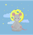 mouse sits in a lotus position and meditates vector image