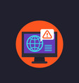 network warning icon with computer vector image vector image