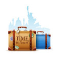 retro suitcases passport vector image vector image
