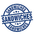 sandwiches blue round grunge stamp vector image vector image