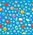 seamless pattern with different christmas baubles vector image vector image