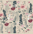seamless pattern with wild flowers leaves vector image vector image
