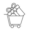 shopping cart and gift box online market concept vector image vector image