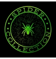 Spider collection green label design vector image vector image