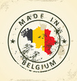 Stamp with map flag of Belgium vector image vector image