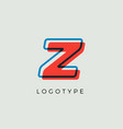 stunning letter z with 3d color contour vector image vector image
