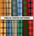 twelve seamless set tartan pattern vector image vector image
