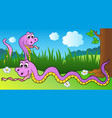 two cartoon snakes on meadow vector image