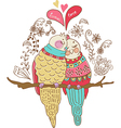 Two cute birds in love colorful vector image