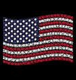 waving usa flag stylization of coffee bean icons vector image vector image