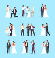 wedding ceremony set groom and bride holding vector image