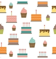 Birthday Cake Flat Seamless Pattern Background vector image