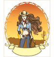 cowgirl poster vector image