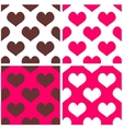 Tile pattern set with pink and brown hearts vector image