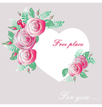 vignette heart of flowers vector image