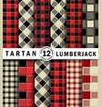 3d set lumberjack tartan seamless patter vector image vector image