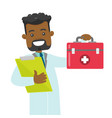 african-american doctor holding a first aid box vector image vector image