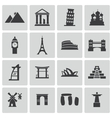black landmark icons set vector image vector image