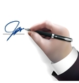 businessman signing contract vector image vector image