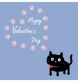 Cat and paw print heart frame template Flat vector image vector image