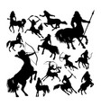 centaur ancient creature mythology silhouettes vector image