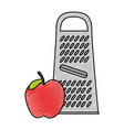 cheese grater with apple vector image