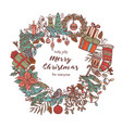 christmas wreath made with festive icons vector image