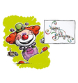 Clown Holding a Happy Birthday Card vector image vector image