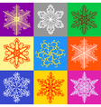 colored set of snowflakes vector image