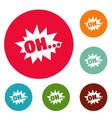 comic boom oh icons circle set vector image vector image