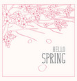 contour drawing of spring tree with inscription vector image