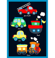 Cute little vehicles on a navy background vector image