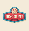 discount 50 percent off concept logo badge vector image vector image