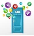 Door and sale labels vector image