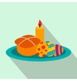 Easter cake with eggs and burning candle flat icon vector image vector image
