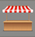 empty market stall wooden tent with red and white vector image