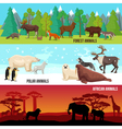 Flat Animal Banners Set vector image vector image