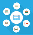 flat set of bunk bed cot hostel and other vector image
