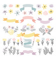 floral decorative elements flowers vector image