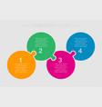 four steps parts pieces puzzle circles infographic vector image