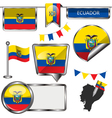 Glossy icons with Ecuadorian flag vector image vector image